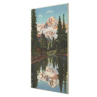 El Monte Rainier, WA - lago mirror con Mt. Reflect Lona Estirada Galerías