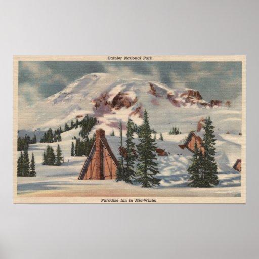 El Monte Rainier, WA - mesón del paraíso en el pie Poster