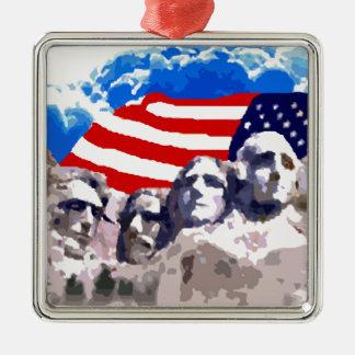El monte Rushmore con la bandera americana Adorno Navideño Cuadrado De Metal