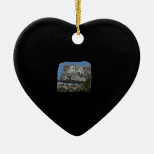 El monte Rushmore Adorno De Cerámica En Forma De Corazón