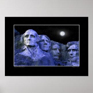 El monte Rushmore y la Luna Llena Impresiones