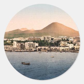 El monte Vesubio, con Torre de Creco, Nápoles, Pegatina Redonda
