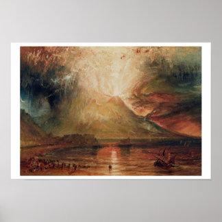 El monte Vesubio en la erupción, 1817 (w/c en el p Póster