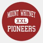 El Monte Whitney - pioneros - alto - Visalia Pegatina Redonda