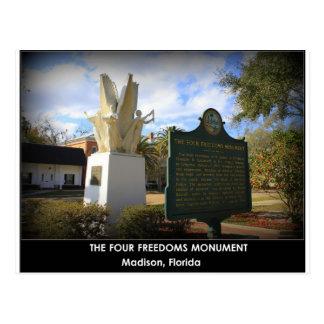 EL MONUMENTO DE CUATRO LIBERTADES - MADISON, FL POSTALES
