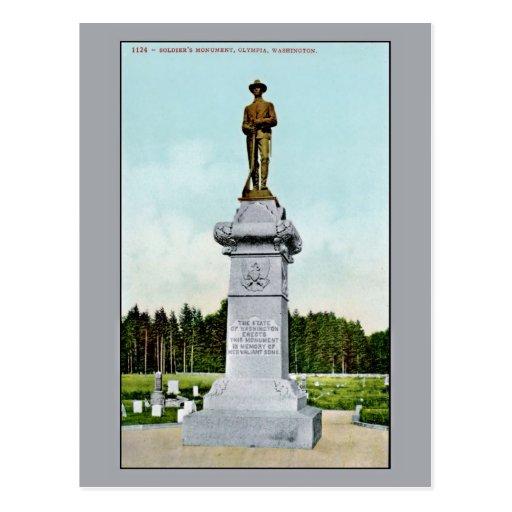 El monumento Olympia WA del soldado del vintage Postales