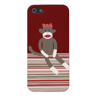 El moreno rojo del mono del calcetín del chica ray iPhone 5 coberturas