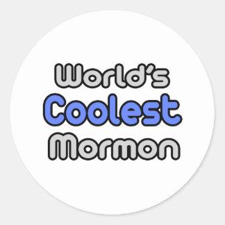 El mormón más fresco del mundo etiqueta redonda