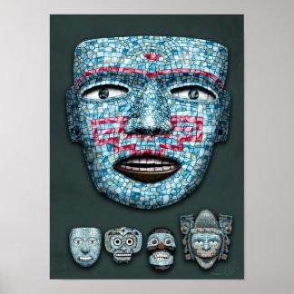 El mosaico azteca enmascara el poster