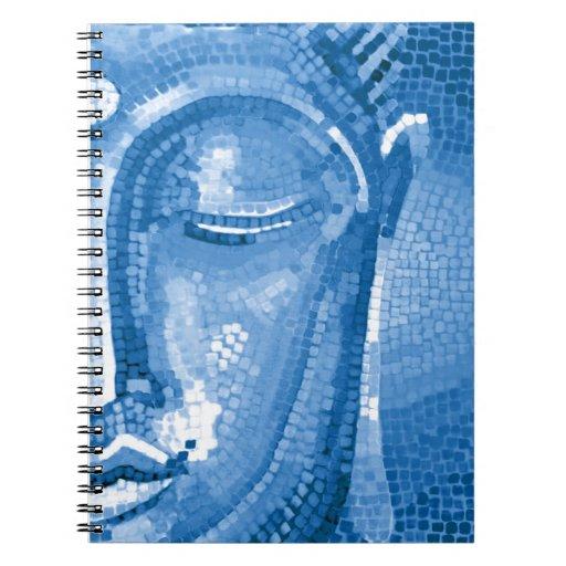 El mosaico azul Buda hace frente Cuaderno