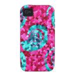 El mosaico azul del trullo enrrollado de las rosas iPhone 4 fundas