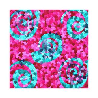 El mosaico azul del trullo enrrollado de las rosas impresiones en lona estiradas