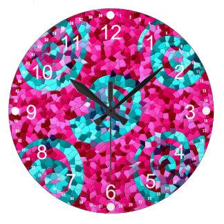 El mosaico azul del trullo enrrollado de las rosas reloj redondo grande