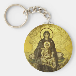 El mosaico de la Virgen y del niño del Hagia Llavero Redondo Tipo Pin