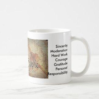 El mosaico del proyecto 9-12 y los 12 valores tazas de café
