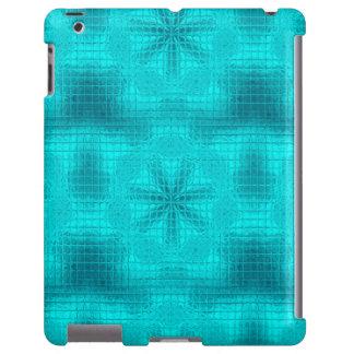 El mosaico florece la caja azul del iPad de la
