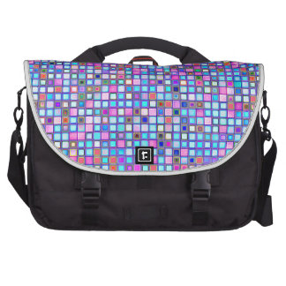 """El mosaico rosado y azul rústico """"arcilla"""" teja el bolsas de ordenador"""