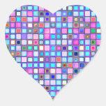 """El mosaico rosado y azul rústico """"arcilla"""" teja el pegatina en forma de corazón"""