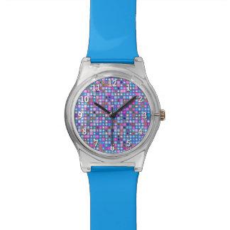 """El mosaico rosado y azul rústico """"arcilla"""" teja el relojes"""