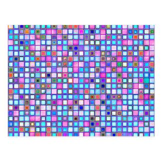 """El mosaico rosado y azul rústico """"arcilla"""" teja el postal"""