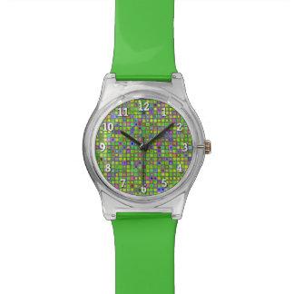 """El mosaico rústico """"arcilla"""" de la verde lima teja relojes de mano"""