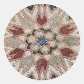 El mosaico tesselate la estrella ornamental - pegatina redonda