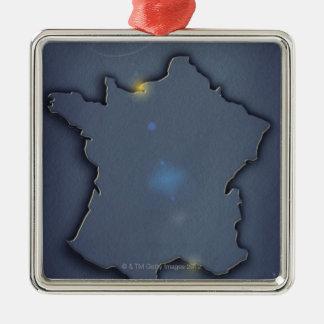 El mostrar azul simple del mapa del esquema de adorno cuadrado plateado