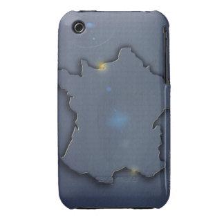 El mostrar azul simple del mapa del esquema de iPhone 3 Case-Mate funda