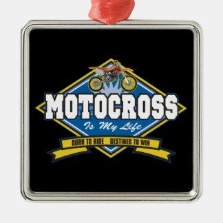 El motocrós es mi vida adorno cuadrado plateado