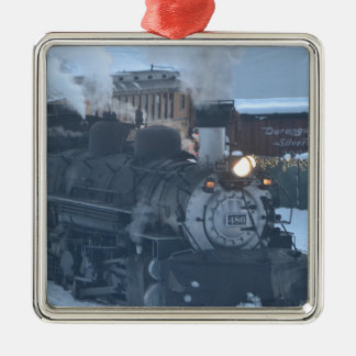 El motor expreso polar adorno navideño cuadrado de metal