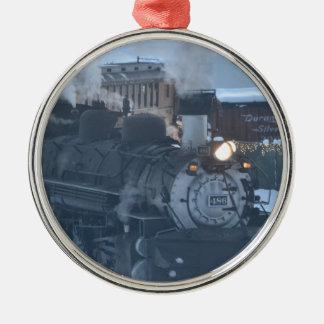 El motor expreso polar adorno navideño redondo de metal