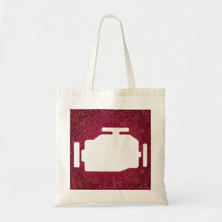 El motor viaja en automóvili símbolo bolsa tela barata