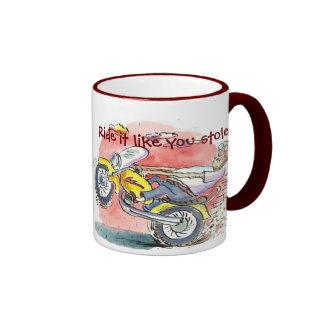 ¡El motorista, lo monta tiene gusto de usted lo Taza De Dos Colores