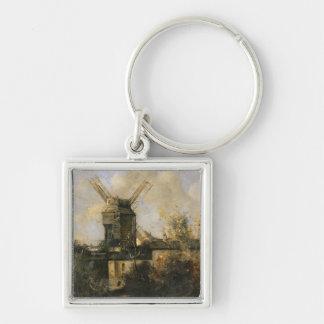 El Moulin de la Galette, Montmartre, 1861 Llavero Cuadrado Plateado