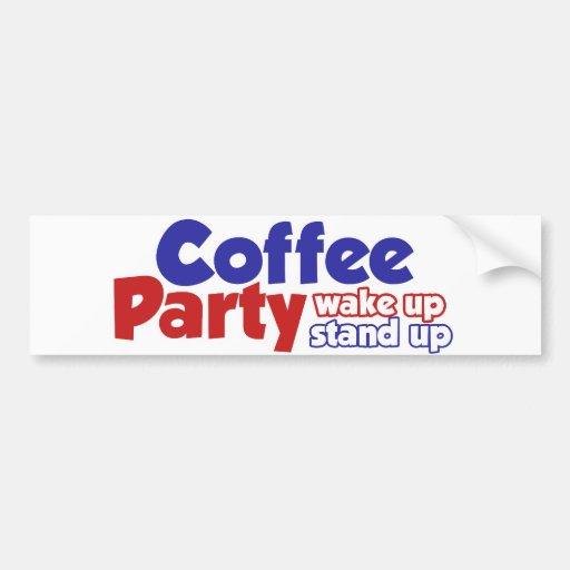 El movimiento del fiesta del café despierta se lev etiqueta de parachoque