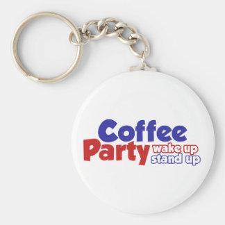 El movimiento del fiesta del café despierta se lev llavero redondo tipo pin