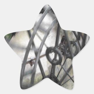 El movimiento rotatorio del agua rueda adentro un pegatina en forma de estrella