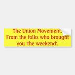 El movimiento sindical etiqueta de parachoque
