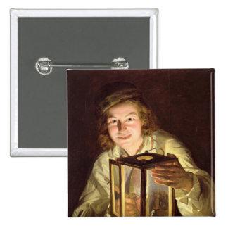 El mozo de cuadra joven con una lámpara estable, 1 pin cuadrada 5 cm
