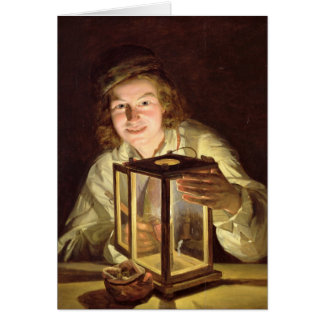 El mozo de cuadra joven con una lámpara estable, 1 felicitacion