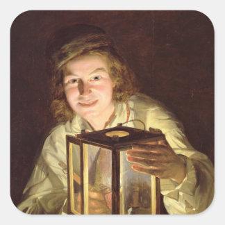 El mozo de cuadra joven con una lámpara estable, colcomanias cuadradas personalizadas