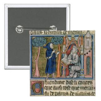 El ms capítulo 95 f.268 MERLIN dicta la historia a Pin Cuadrado
