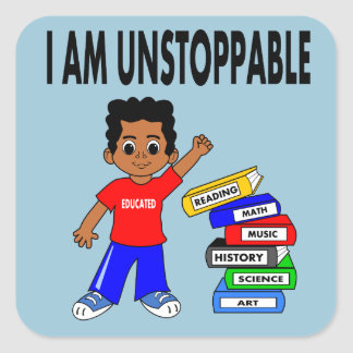 El muchacho afroamericano del ejemplo reserva a pegatina cuadrada