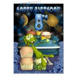 El muchacho de 8vo Plantet feliz del cumpleaños, O Tarjetón