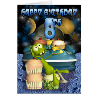 El muchacho de 8vo Plantet feliz del cumpleaños, Tarjeta De Felicitación