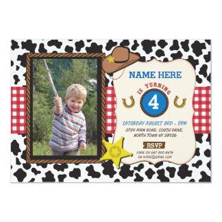"""El muchacho de la vaca de la fiesta de cumpleaños invitación 5"""" x 7"""""""