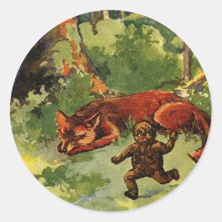 El muchacho del pan de jengibre y el Fox Etiquetas Redondas