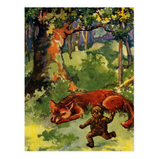 El muchacho del pan de jengibre y el Fox Tarjeta Postal