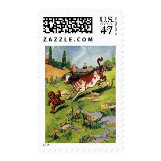 El muchacho del pan de jengibre y la vaca sellos postales