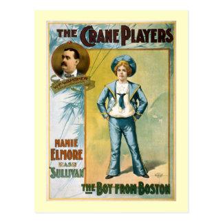 El muchacho del poster del teatro del vintage de postal